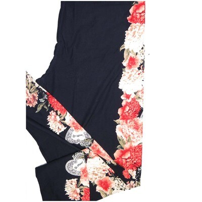 LuLaRoe One Size OS Floral with Doily Hearts Black Pink White Be Mine Valentines Leggings (OS fits Adults 2-10)