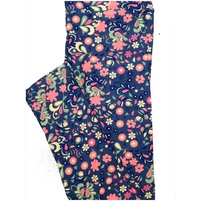 LuLaRoe One Size OS Blue Navy Gray Floral Leggings (OS fits Adults 2-10)