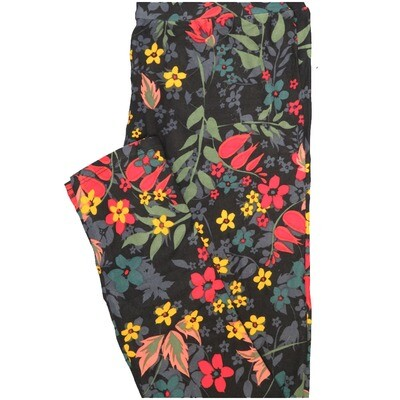 LuLaRoe One Size OS Black Pink Green Yellow Floral Leggings (OS fits Adults 2-10)