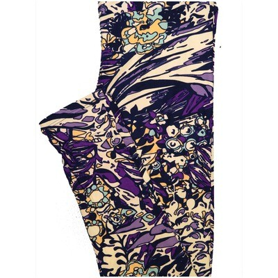 LuLaRoe One Size OS Abstract Floral Blue Purple Cream Yellow Black Leggings (OS fits Adults 2-10)
