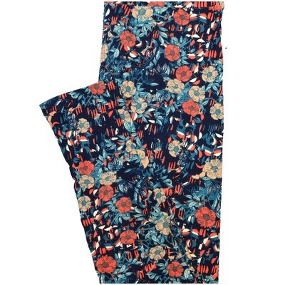LuLaRoe One Size OS Blue Coral Peach White Floral Leggings (OS fits Adults 2-10)