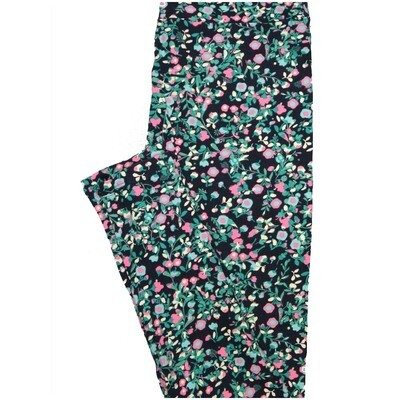 LuLaRoe One Size OS Floral Blue Pink Turquoise Leggings (OS fits Adults 2-10)