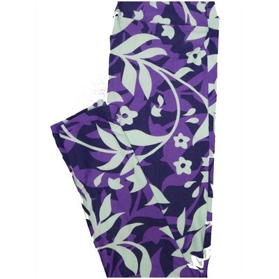 LuLaRoe One Size OS Floral Leggings Purple Light Blue (OS fits Adults 2-10)