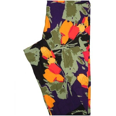 LuLaRoe One Size OS Floral Abstract Dark Purple Green Orange Leggings (OS fits Adults 2-10)