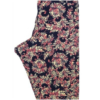 LuLaRoe One Size OS Floral Black Pink Off White Leggings (OS fits Adults 2-10)