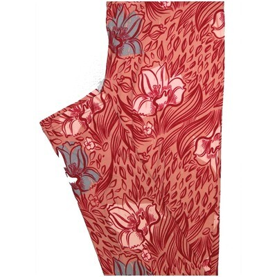 LuLaRoe One Size OS Floral Light Red Dark Red Blue Leggings (OS fits Adults 2-10)