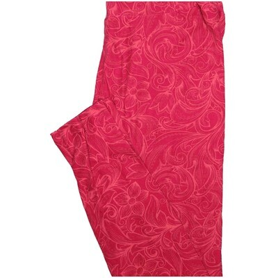 LuLaRoe One Size OS Floral Dark Red Light Red Leggings (OS fits Adults 2-10)