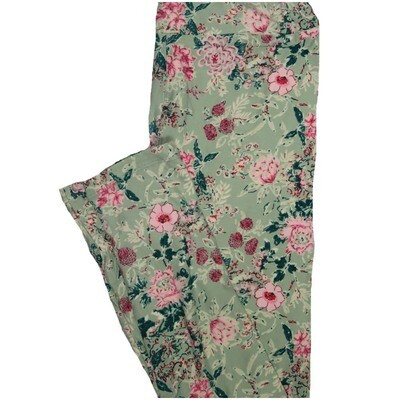 LuLaRoe One Size OS Floral Light Green Pink Green Leggings (OS fits Adults 2-10)