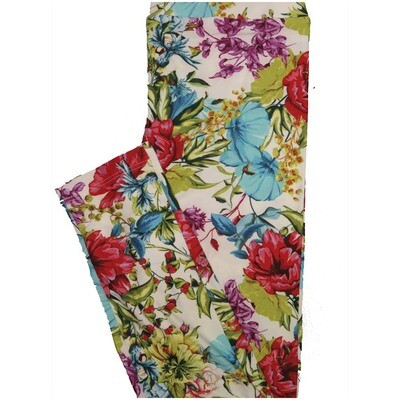 LuLaRoe One Size OS Floral Off White Green Blue Red Leggings (OS fits Adults 2-10)