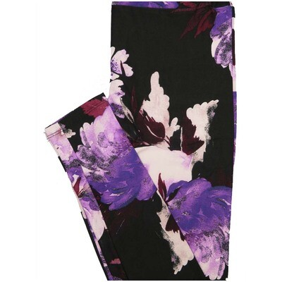 LuLaRoe One Size OS Floral Black Purple Maroon White Leggings (OS fits Adults 2-10)