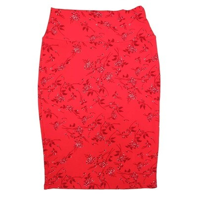 Cassie X-Small (XS) LuLaRoe Floral Red Dark Red White Womens Knee Length Pencil Skirt Fits 2-4