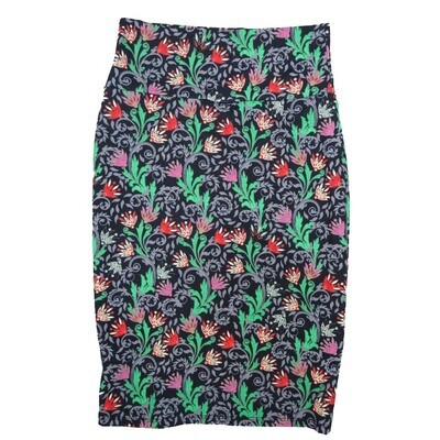 Cassie X-Small (XS) LuLaRoe Floral Black Mint Green Lavender Womens Knee Length Pencil Skirt Fits 2-4
