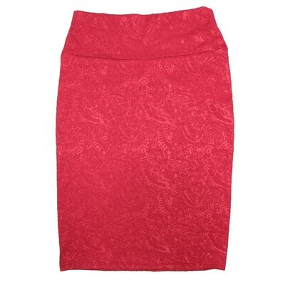 Cassie X-Small (XS) LuLaRoe Two Tone Birds Feathers Flowers Red Womens Knee Length Pencil Skirt Fits 2-4