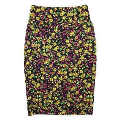 Cassie X-Small (XS) LuLaRoe Floral Black Yellow Pink Green Womens Knee Length Pencil Skirt Fits 2-4