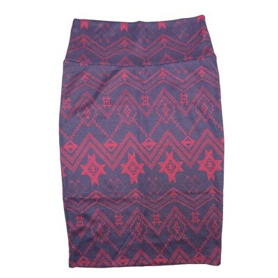 Cassie X-Small (XS) LuLaRoe Geometric Aztek Southwestern Blue Pink Womens Knee Length Pencil Skirt Fits 2-4