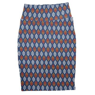 Cassie X-Small (XS) LuLaRoe Geometric Triangle Polka Dot Blue White Orange Womens Knee Length Pencil Skirt Fits 2-4
