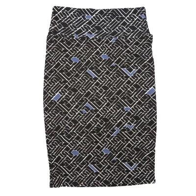 Cassie X-Small (XS) LuLaRoe 3D Geometric Black White Blue Womens Knee Length Pencil Skirt Fits 2-4