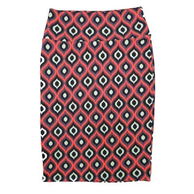 Cassie X-Small (XS) LuLaRoe Trippy Geometric Black Pink Light Green Womens Knee Length Pencil Skirt Fits 2-4