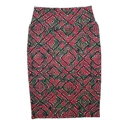 Cassie X-Small (XS) LuLaRoe Gods Eye Checkerboard Geometric Pink Black Green Womens Knee Length Pencil Skirt Fits 2-4
