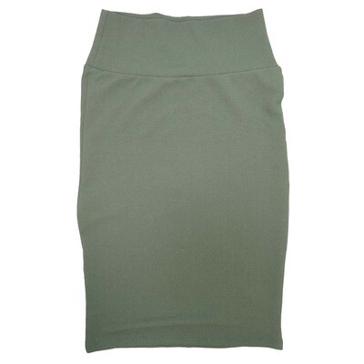 Cassie X-Small (XS) LuLaRoe Solid Gray-Green Womens Knee Length Pencil Skirt Fits 2-4