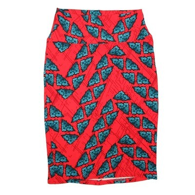 Cassie X-Small (XS) LuLaRoe Floral Zig Zag Triangle Red Light Blue Womens Knee Length Pencil Skirt Fits 2-4