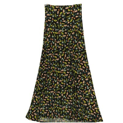 LuLaRoe Maxi XX-Small XXS Black Yellow Green Floral A-Line Skirt fits Women 00-0