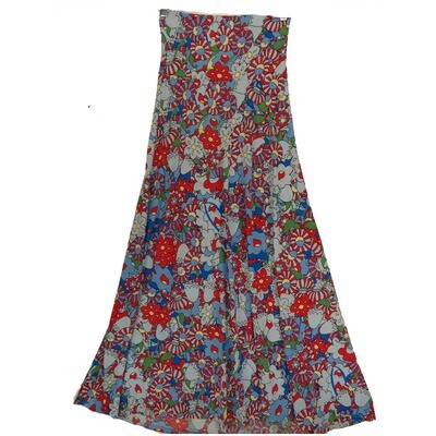 LuLaRoe Maxi XX-Small XXS Ready Gray Blue Floral Pinwheel A-Line Skirt fits Women 00-0