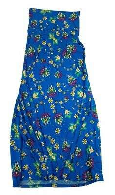 LuLaRoe Maxi XX-Small XXS Blue Yellow Green Floral Vine A-Line Skirt fits Women 00-0