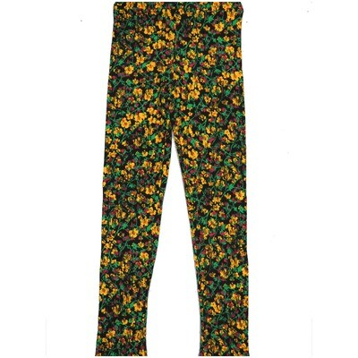 LuLaRoe Kids Large/XL LXL Floral Black Yellow Leggings ( L/XL fits kids 8-14) LXL-2002-H