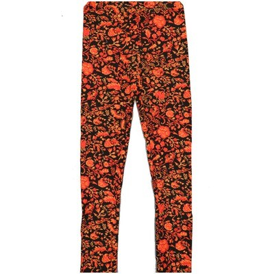 LuLaRoe Kids Large/XL LXL Floral Black Leggings ( L/XL fits kids 8-14) LXL-2002-N