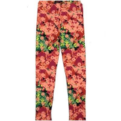 LuLaRoe Kids Large/XL LXL Floral Green Red Yellow Leggings ( L/XL fits kids 8-14) LXL-2002-M