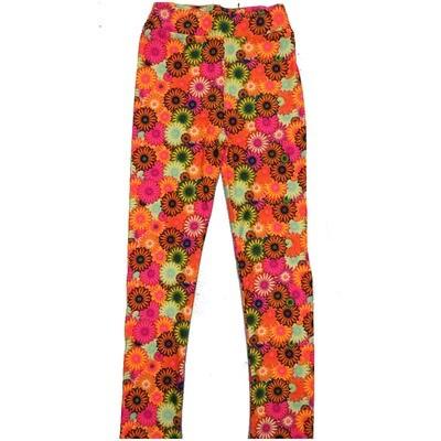 LuLaRoe Kids Large/XL LXL Floral Daisy Peach Yellow Green Black Leggings ( L/XL fits kids 8-14) LXL-2003-D