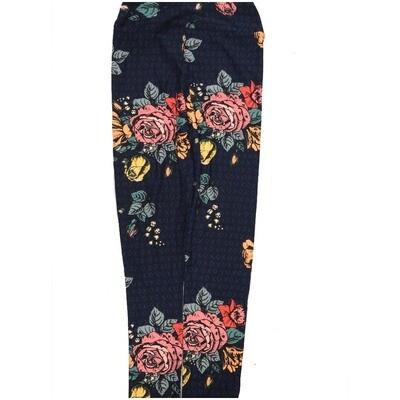 LuLaRoe Kids Large/XL LXL Roses Floral Leggings fits Kids sizes 8-14