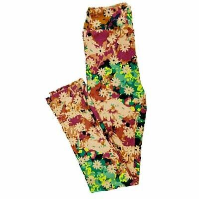 LuLaRoe Kids Large/XL LXL Leggings Floral Geometric fits sizes 8-14
