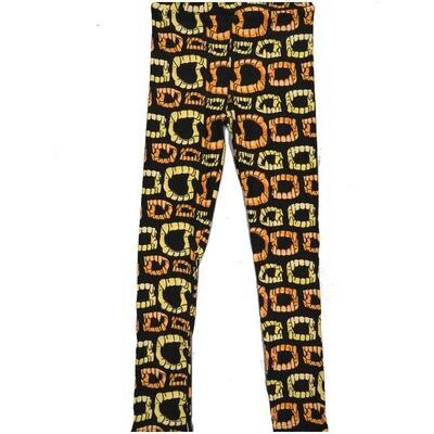 LuLaRoe Kids Large/XL LXL Halloween Fake Teeth Fangs Stripes Black Yellow Leggings ( L/XL fits kids 8-14) LXL-2000-M