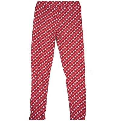 LuLaRoe Kids Large/XL LXL Valentines Red Black Pink White Stripe Polka Dot Hearts Leggings fits Kids sizes 8-14