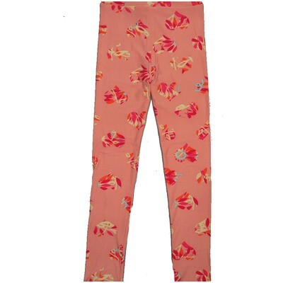 LuLaRoe Kids Large/XL LXL Valentines Hearts Floral Polka Dot Pink Peach Leggings ( L/XL fits kids 8-14) LXL-2000-N2