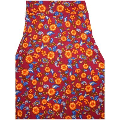 LuLaRoe Maxi Medium M Paisley Floral Red Blue Yellow White A-Line Skirt fits Women 10-12