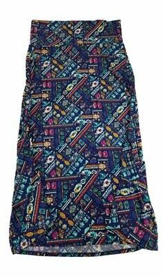 LuLaRoe Maxi XX-Large 2XL Patchwork Geometric Stripe A-Line Skirt fits Women 22-24