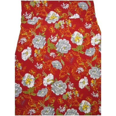 LuLaRoe Maxi XX-Large 2XL Red Pink White Floral A-Line Skirt fits Women 22-24