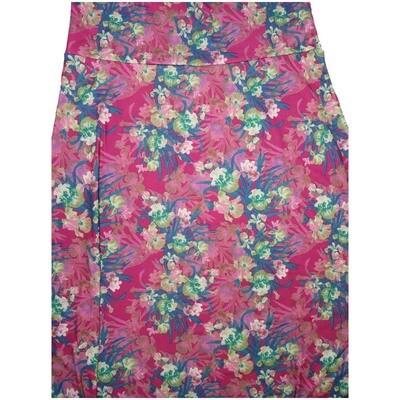 LuLaRoe Maxi XX-Large 2XL Pink White Floral A-Line Skirt fits Women 22-24