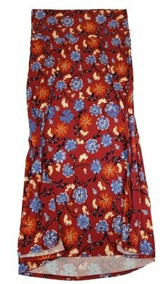 LuLaRoe Maxi XX-Large 2XL Red Black Teal Blue White Floral A-Line Skirt fits Women 22-24
