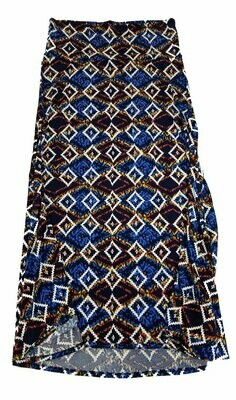 LuLaRoe Maxi XX-Large 2XL Diamond Southwestern Trippy 70s Geometric Black White Blue Yellow A-Line Skirt fits Women 22-24