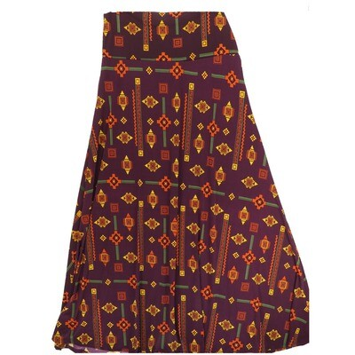 LuLaRoe Maxi X-Large XL Southwestern Aztek Black Stripe Geometric A-Line Skirt fits Women 18-20