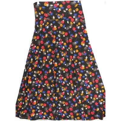 LuLaRoe Maxi X-Large XL Black Blue Yellow White Floral A-Line Skirt fits Women 18-20