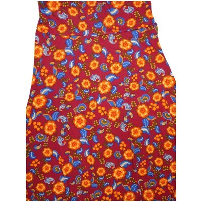 LuLaRoe Maxi X-Large XL Paisley Floral Red Yellow Blue White A-Line Skirt fits Women 18-20
