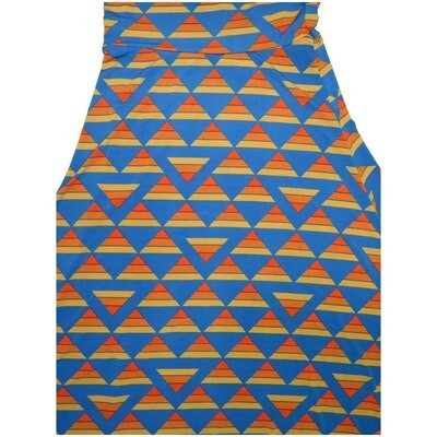 LuLaRoe Maxi Small S Triangle Geometric Blue Orange A-Line Skirt fits Women 6-8