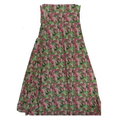 LuLaRoe Maxi Small S Floral Geometric Stripe A-Line Skirt fits Women 6-8