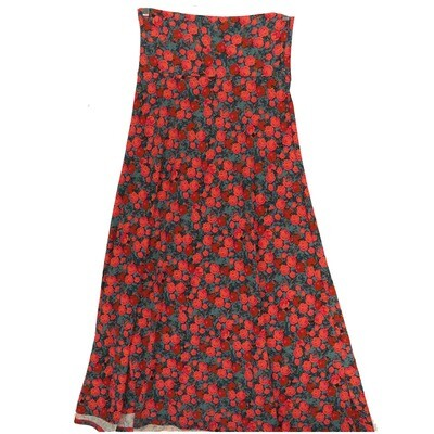 LuLaRoe Maxi Small S Red Blue Pink Roses A-Line Skirt fits Women 6-8