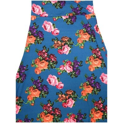 LuLaRoe Maxi Small S Blue Pink Red Roses Floral A-Line Skirt fits Women 6-8